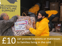 £10 can provide blankets or mattresses to families living in the cold