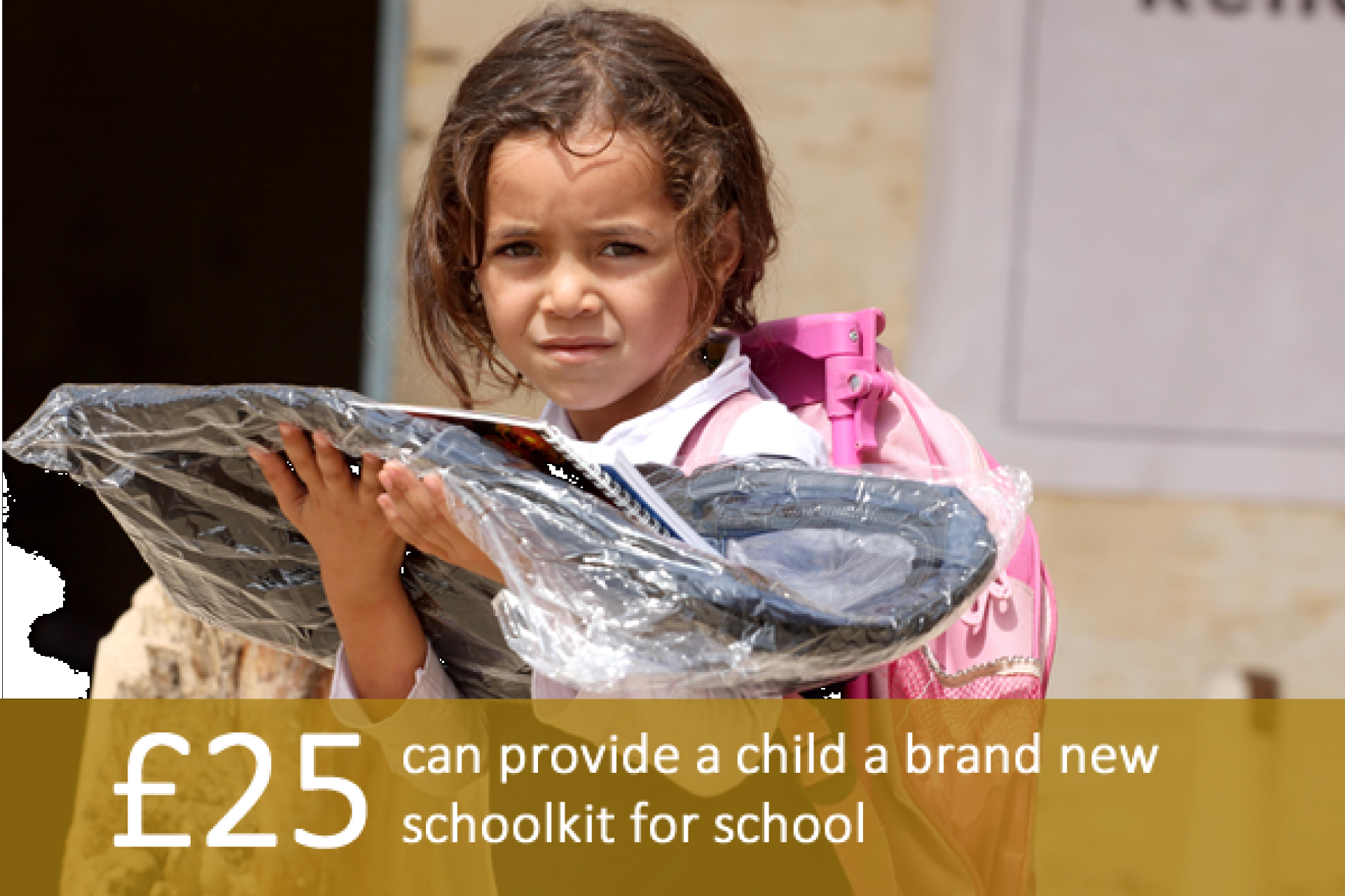 £25 can provide a child a brand new schoolkit for school